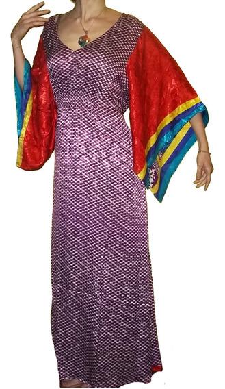 Vestido Hindú Seda Manga Kimono India Xxl Importados