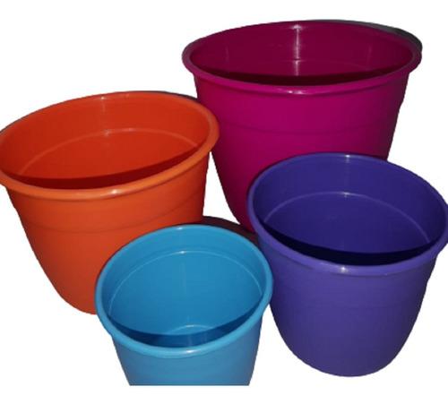 Pack X 3 Macetas Reforzadas 12 Cm Plastico Varios Colores