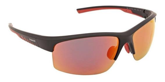 Óculos De Sol Polaroid Polarizado Vermelho Preto Máscara