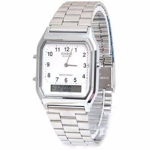 Relógio Casio Unissex Vintage Aq-230a 7bmq Prata Quadrado