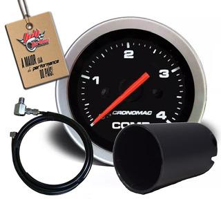 Manômetro Combustivel 52mm Mec 4kg Sport+copo E Kit Insta