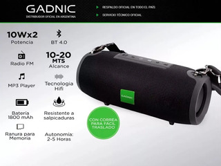 Parlante Bluetooth Portatil Gadnic Premium Usb Blue H/ 5hs
