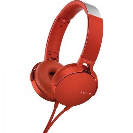 Fone De Ouvido Com Microfone Mdr-xb550ap/r Vermelho Sony