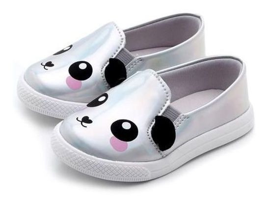 Tênis Infantil Feminino Slip On Pesh Panda Holográfico