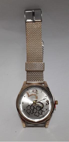 Relógio Feminino Dourado Pulseira Metal Dourado