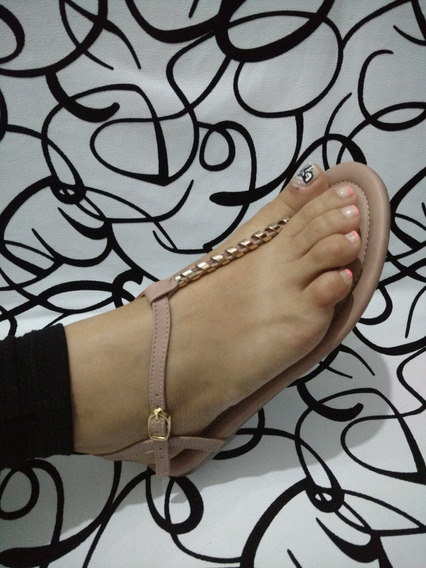 Sandalia Plana Rosada Raja Dedo Elegante Dama Envío Gratis
