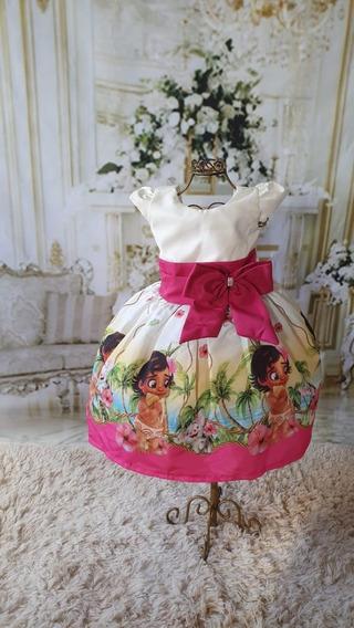 Vestido Moana Baby Tematico Luxo Festa