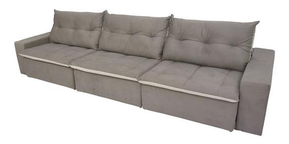 Sofá 6 Lugares Miró Com Pillow Retrátil E Reclinável Pena