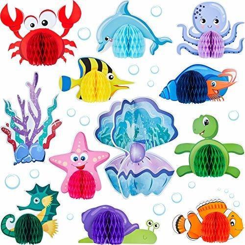 Imagen 1 de 2 de 12 Piezas Ocean Sea Animal Honeycomb Centerpiece Sea Criatur