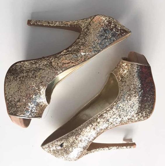 Peep Toe Dourado Glitter Ellus Novo