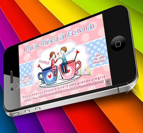Imagem 1 de 1 de Chá Panela Cozinha Vermelho Digital Convite Personalizado Xc