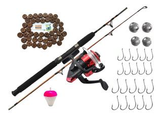 Isca Kit De Pesca Completo Infantil Vara Molinete Linha