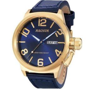 Relógio Magnum Masculino Dourado Couro - Ma33399a