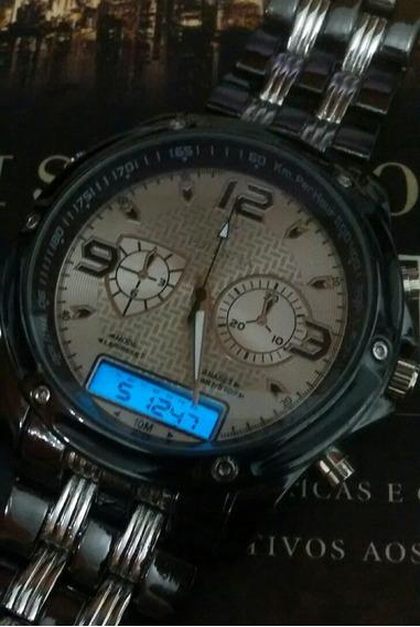Relogio Masculino Luxo Resistente Á Agua Kit Com 3 Relógios