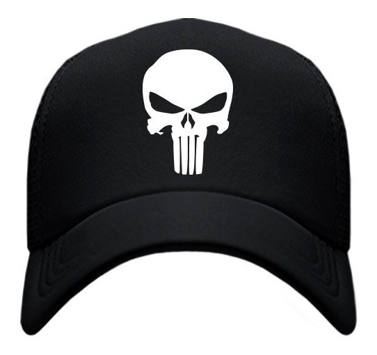 Gorra Tipo Trucker Negra The Punisher Skull Calavera