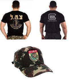 Camiseta Glock Bordada + Boné Cigs + Camiseta Israel Defense