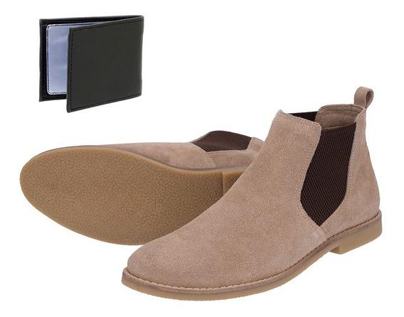 Bota Chelsea Boots Lisa Sir.w Couro Camurça + Brinde
