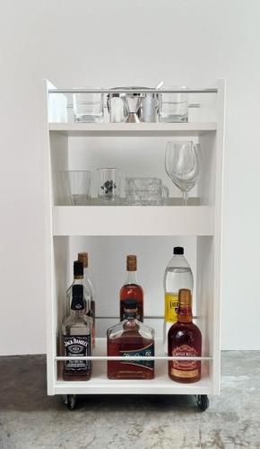 Imagen 1 de 2 de Minibar De Melamina Con Ruedas En Color Blanco