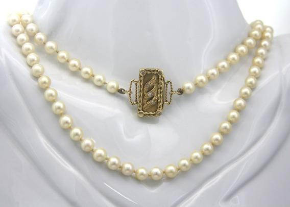 Colar De Pérola Água Salgada Fecho Em Ouro Diamantes D829