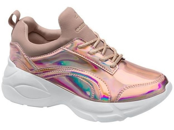 Chunky Sneakers Gloria Trevi Tenis Casual Rosa Oro Para Dama