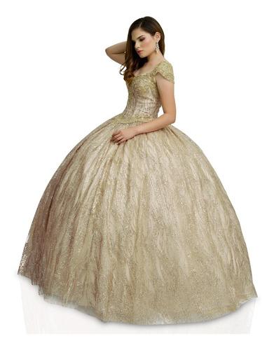 Imagen 1 de 1 de Vestido Quinceañera Glitter Aplicaciones Quince Años Xv 1004