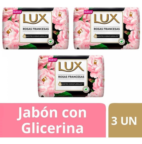 Jabon Lux Rosas Francesas X 3 Unidades X 125 G