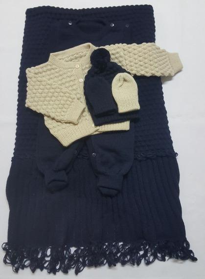 Saída Maternidade Tricot Menino Azul Marinho / Bege