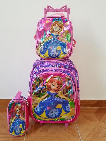 Kit Mochila Infantil Sofia Lancheira+estojo Rodinhas 3d