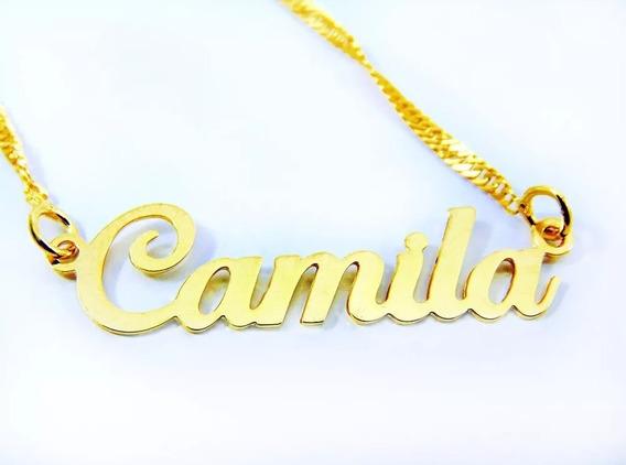 Cordão Colar Pingente Com Nome Ana Caroline Folheado Ouro 18