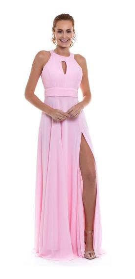 Vestido Festa Madrinha Rosa Claro Longo Elegante Fenda