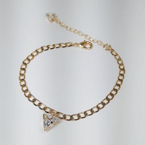 Pulseira Folheada A Ouro Com Pingente Triangular Em Zircônia