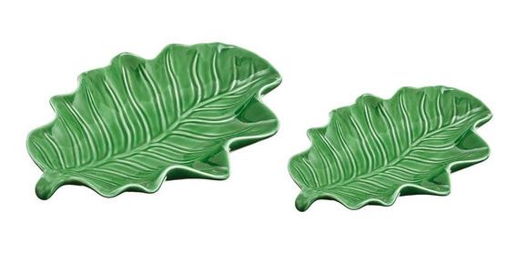 Jogo De Folhas Em Cerâmica Mart 2 Peças 21,5x15,5x3,5cm Verd
