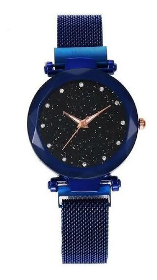 Relógio Feminino Céu Estrelado Sky Ponto Pulseira Magnética
