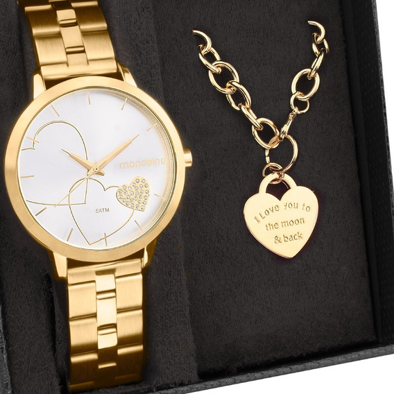 Kit Relógio Mondaine Feminino Com Pulseira 32102lpmkde1k1