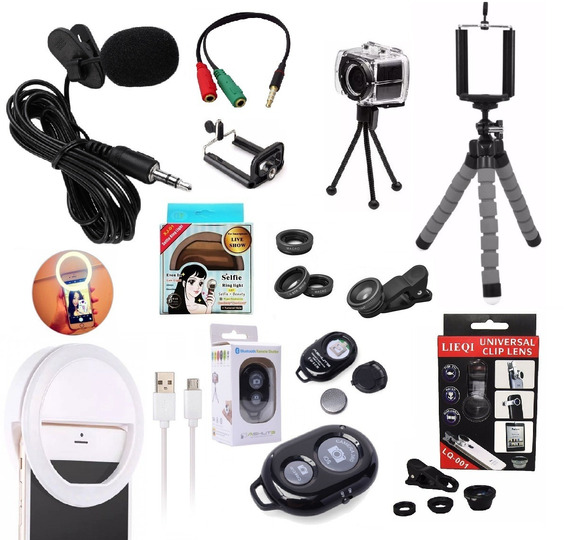 Kit Youtuber Microfone De Lapela Celular + 2 Tripés + Flash