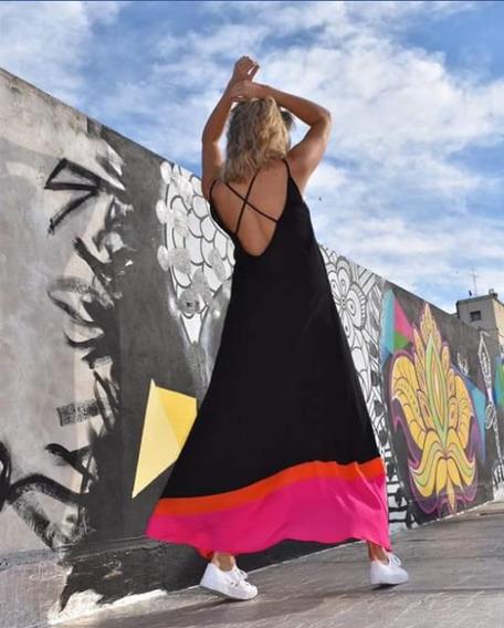 Maxi Vestido Tricolor Super Fresco Verano 2020. Divino!