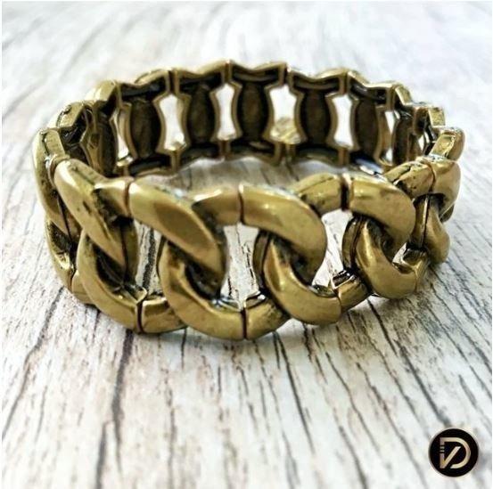 Bracelete Formato Corrente Banho Ouro Vintage