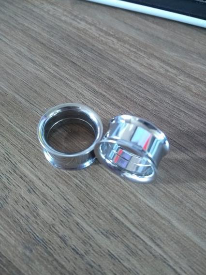 Par De Alargador Prata Vazado 18mm
