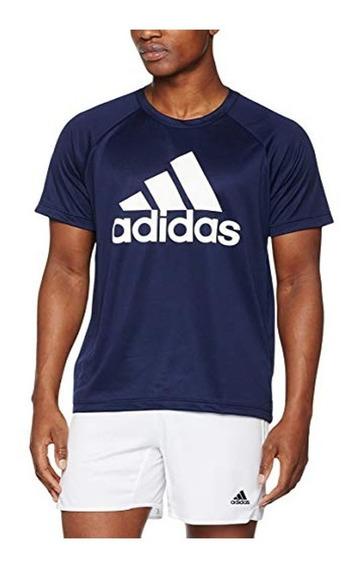 Playera adidas D2m Azul Para Hombre Original Bk0938
