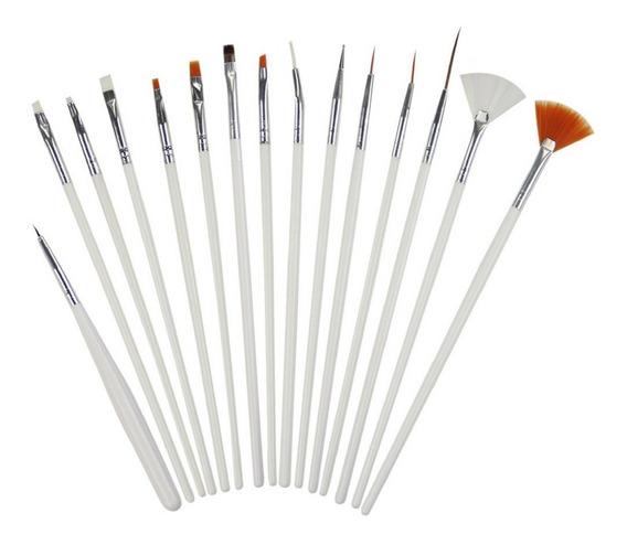 Kit Pincel Gel Uv Com 15 Pinceis Manicure Acrigel Salão