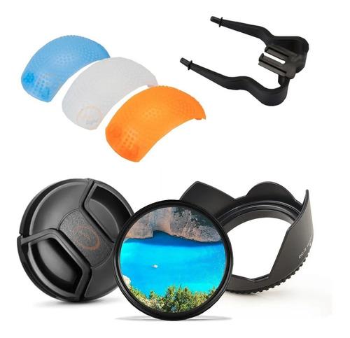 Filtro Uv Parasol Tapa Difusor Kit Nikon D3100 D3200 Etc