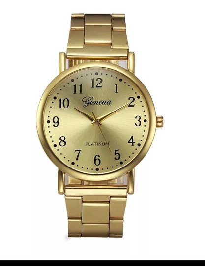 Relógio Feminino Geveva Dourado Pulseira Dourada