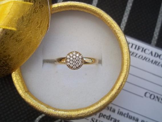 Anel Chuveirinho Cravejado De Pedras Brancas Ouro 12k