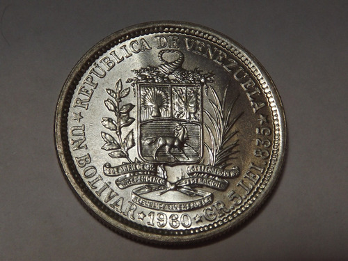 Moneda De 5 Gramos De Plata. Un (1) Bs Bolívar. Venezuela