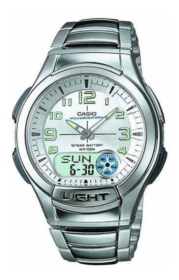 Relógio Masculino Anadigi Standard Aq-180wd-7bv - Prata