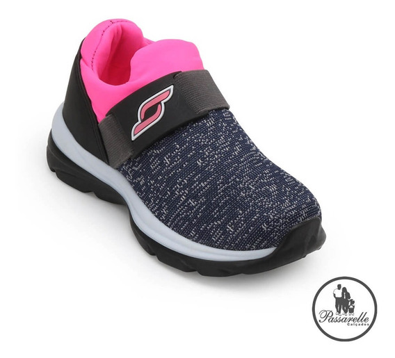 Tênis Infantil Meninas Botinho Casual Elástico Tecido - Pink
