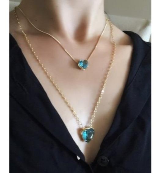 Colar Duplo Com Corações Azul Turquesa Banhado Em Ouro 18k