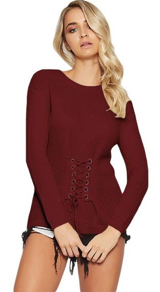 Sueter Para Dama Color Vino Moderno Cuello Redondo Moda