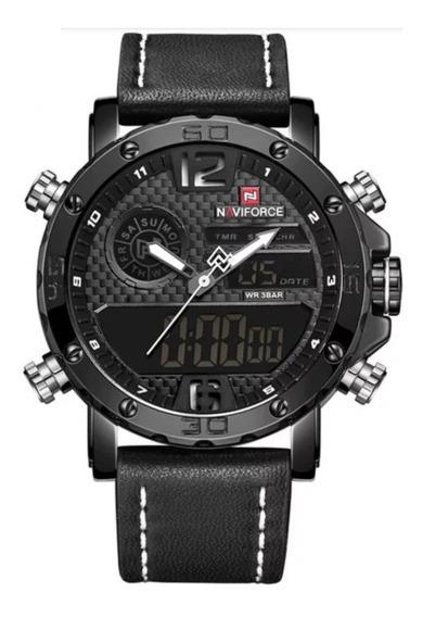 Relógio Masculino Digital Naviforce 9097 Em Couro Adultos