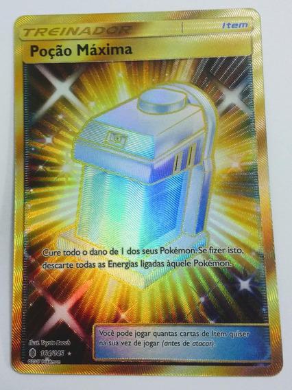 Carta Pokemon Poção Máxima Secreta Rara 164/145 + Brinde